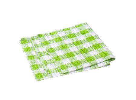 white napkin: Checked green and white napkin
