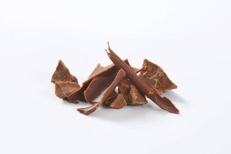 stukjes melkchocolade - studio-opname Stockfoto