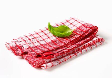 checked: Cotton Checked Kitchen Tea Towel Stock Photo