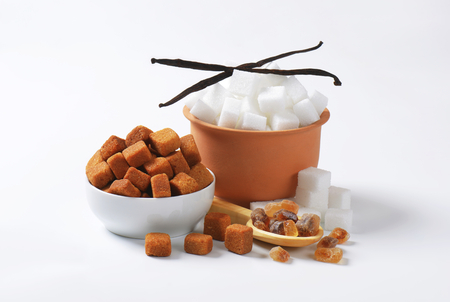 sugar cubes: White and brown sugar cubes and rock sugar