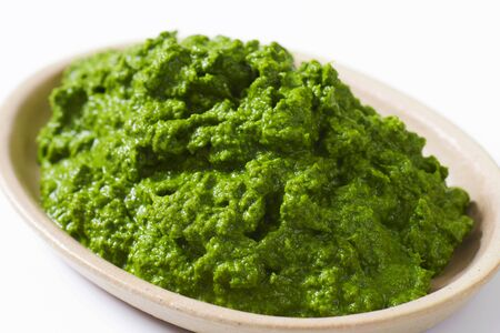 pureed: Plate of homemade spinach puree