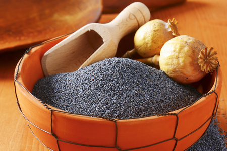 poppy seeds: Bowl of whole poppy seeds