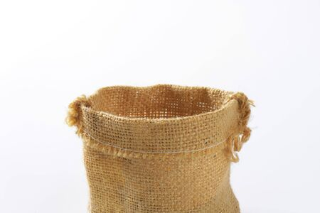 hessian: Empty Hessian sack on white background Stock Photo