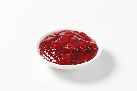 strawberry jam: strawberry jam on white plate Stock Photo