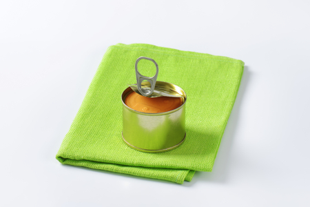pate: canned pate on folded green cloth