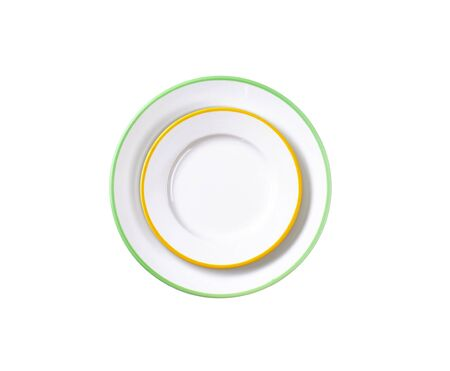 side plate: Dinner plate and side plate with colored edges isolated on white Stock Photo