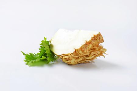 apium graveolens: quarter of fresh celery root