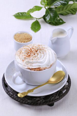 trivet: Cup of coffee with whipped cream Stock Photo