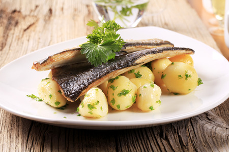 pan fried: Pan fried trout with potatoes