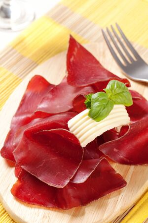 cured ham: Thin slices of dry cured ham and butter