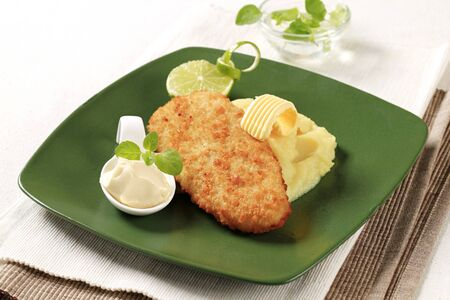 fish sauce: Fried breaded fish served with mashed potato