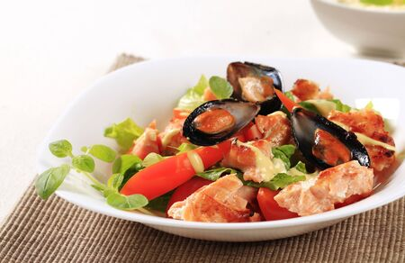 seafood salad: Seafood salad with pan fried salmon and mussels