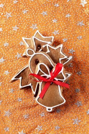 gingerbread cookies: Gingerbread cookies on a festive organza tablecloth