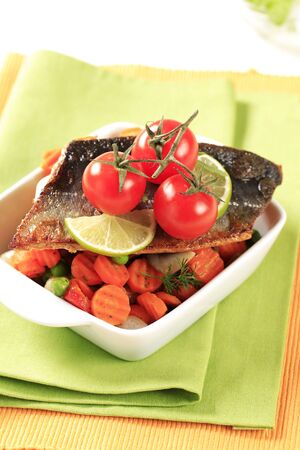 pan fried: Pan fried trout fillet served with mixed vegetables