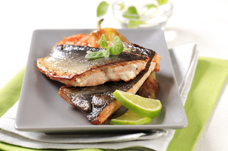 pan fried: Pan fried trout fillets and vegetable garnish