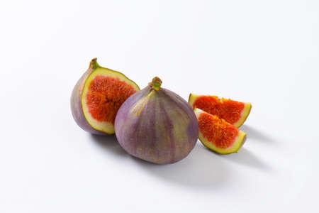 halved  half: Studio shot of fresh fig fruits