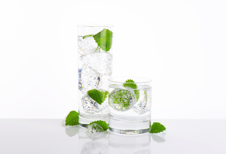 fizzy: glasses of fizzy water with mint and ice