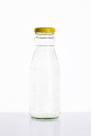 seltzer: bottle of water on white background Stock Photo