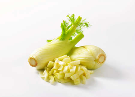 bulb and stem vegetables: fennel on white background