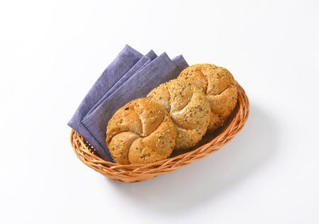 whole wheat: whole wheat bread buns in basket