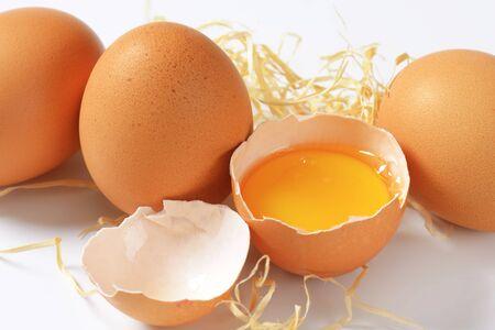 brown eggs: detail of raw brown eggs