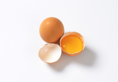 raw eggs on white background 写真素材