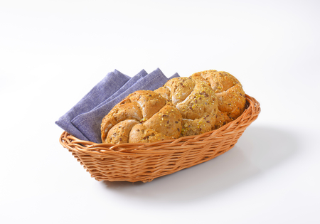 whole wheat bread: whole wheat bread buns in basket