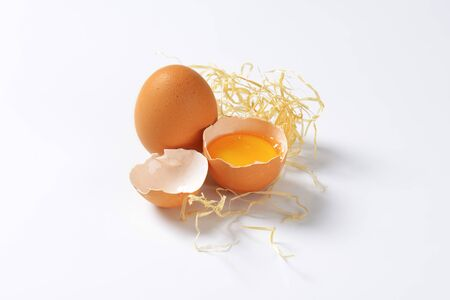 white eggs: raw eggs on white background Stock Photo