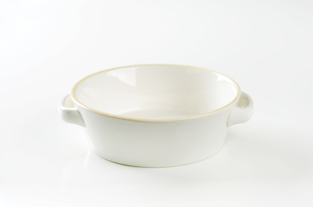 casserole dish: empty casserole dish on white background