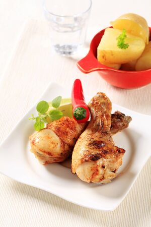 entrees: Spicy roast chicken drumsticks and new potatoes