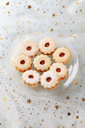 icing: Jam shortbread cookies powdered with icing sugar