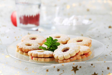 shortbread: Jam shortbread cookies powdered with icing sugar