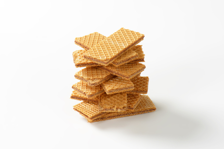 filled: crispy wafers filled with hazelnut cream Stock Photo