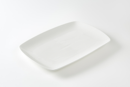 Rectangle all-white porcelain plate with rounded corners