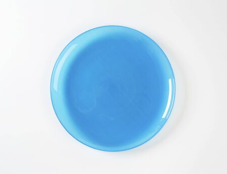 salad plate: Coup style blue glass salad plate