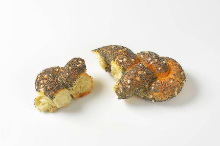 bread roll: Pieces of braided poppy seed bread roll