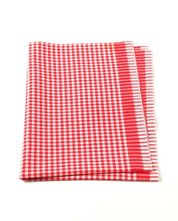 dishcloth: Red and white table linen isolated on white Stock Photo