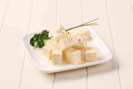 marinated: Diced feta cheese marinated in olive oil