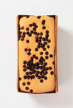 chocolate chips: homemade sponge cake topped with chocolate chips