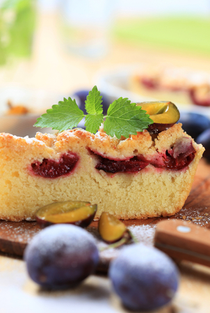 crumb: Slices of plum cake with crumb topping Stock Photo