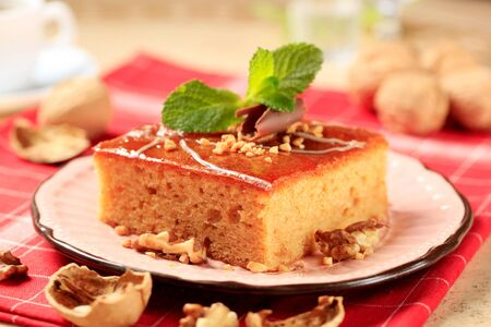 gingerbread cake: Piece of gingerbread cake glazed with syrup