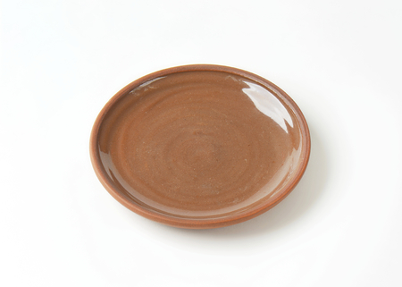 round: Round brown ceramic dinner plate