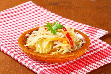 brine: White cabbage salad pickled in vinegar brine