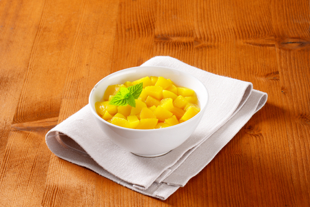 diced: Bowl of diced peach in light syrup