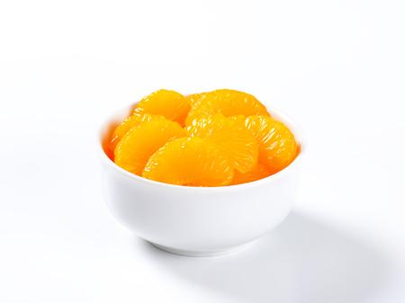 sweet segments: Bowl of peeled mandarin orange segments in light syrup