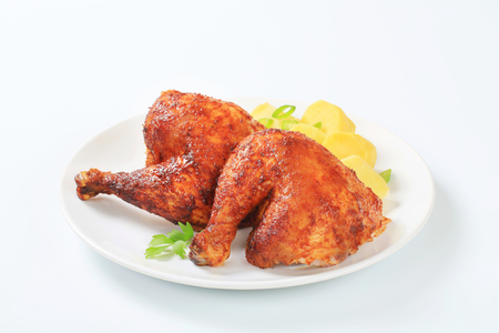 quarters: Garlic roasted chicken leg quarters with boiled potatoes