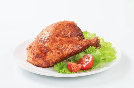 quarter: Garlic roasted chicken leg quarter with lettuce
