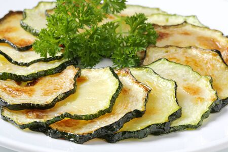 circle of thin slices of roasted zucchini