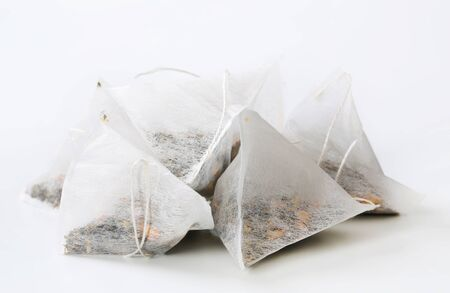 sachets: dried tea in pyramid biodegradable bags