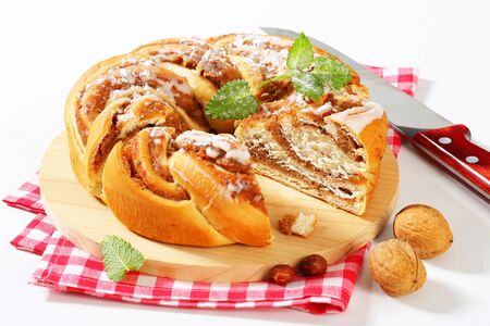 yeast: braided yeast cake with nut filling